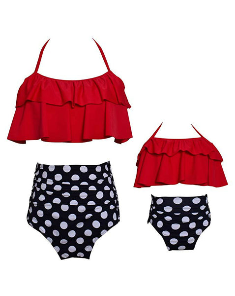 Two Piece Off Shoulder Ruffled Flounce Crop Mom and Daughter Bikini