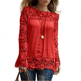 Long Sleeve Shirt,Lady Casual Lace Blouse Loose Cotton Tops