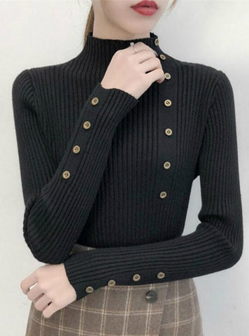 KNITTED SWEATER SOLID KNITTED FEMALE COTTON SOFT ELASTIC COLOR