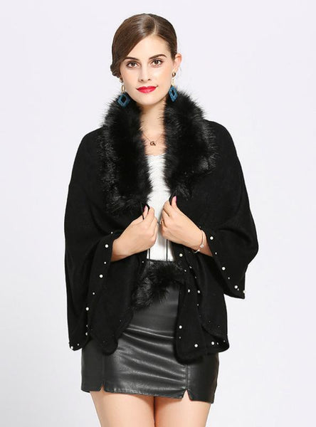 FOX LIKE FUR COLLAR CASHMERE SHAWL SCARF