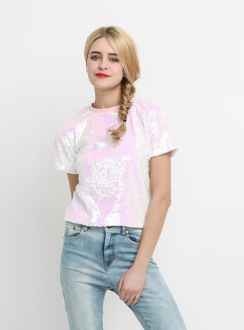 SLEEVE SOLID PINK SEQUINED LADY TOP O-NECK