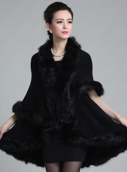 KNITTED DOUBLE CARDIGAN FAUX FOX FUR SHAWL CAPE