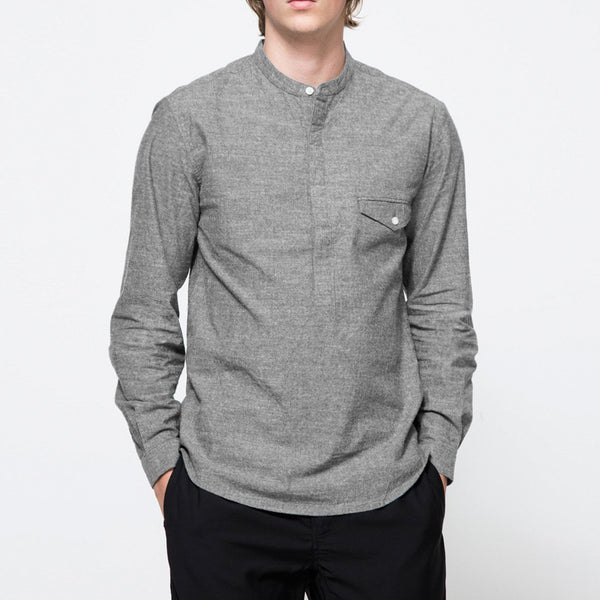 Stripe Solid Color Long Sleeve Casual Stand Collar T-Shirt for Men