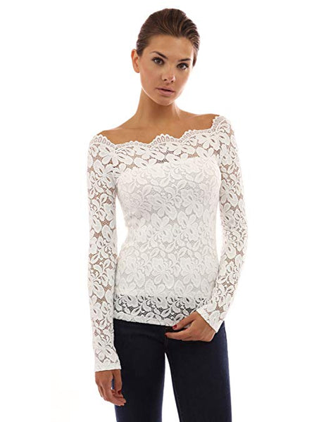 Women Floral Lace Off Shoulder Top