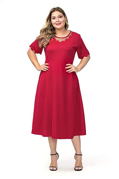 Plus Size Short Sleeves Mother of The Bride Cocktail Dress