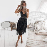 Women's Sleeveless Spaghetti Strap V Neck Party Evening Backless Lace Gown Cocktail Dress