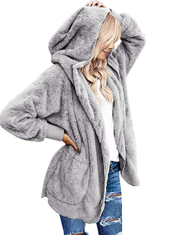 Women's Oversized Open Front Hooded Draped Pockets Cardigan Coat