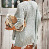 Women's Off Shoulder Casual V Neck Sheer Loose Oversized Pullover Sweater