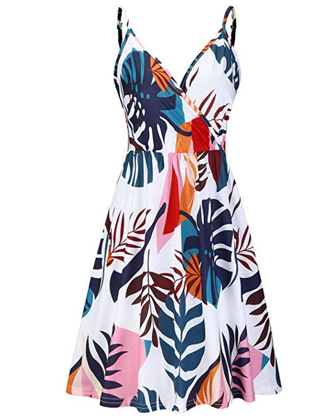Floral Spaghetti Strap Summer Casual Swing Dress with Pocket