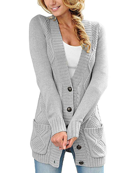 Womens Long Sleeve Open Front Buttons Cable Knit Pocket Sweater
