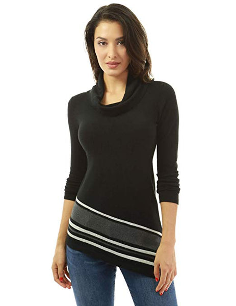 Women Cowl Neck Asymmetrical Hem Sweater