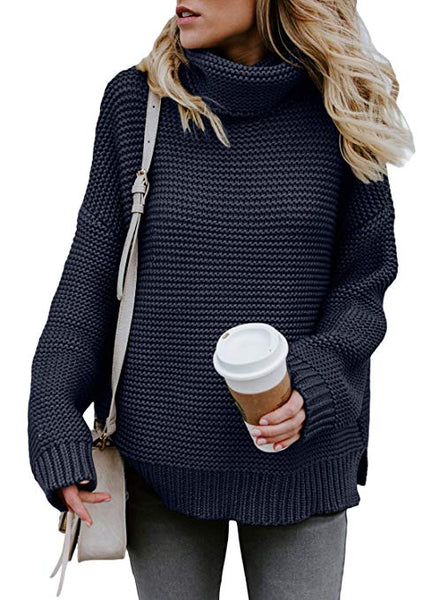 Womens Turtleneck Long Sleeve Chunky Knit Pullover Sweater