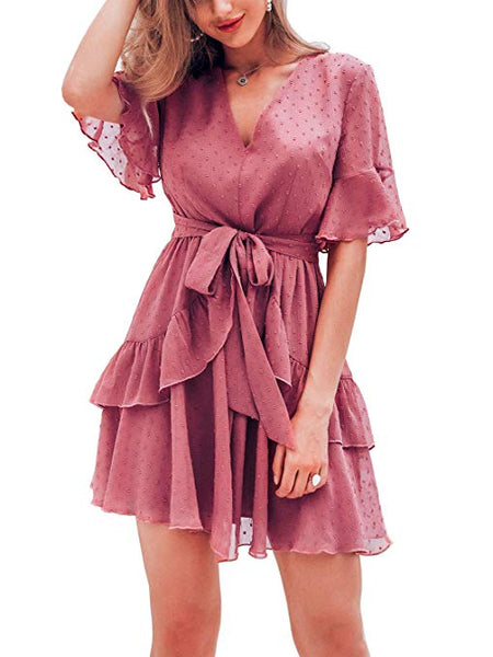Women's Summer V Neck Chiffon Ruffle Mini Dress Elegant Tie Waist Short Sundress