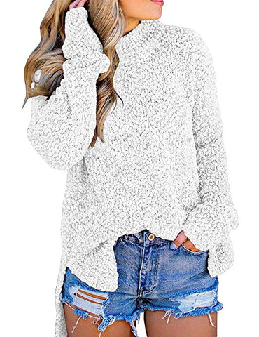 Women's Long Sleeve Sherpa Fleece Knit Sweater Side Slit Pullover Outwears