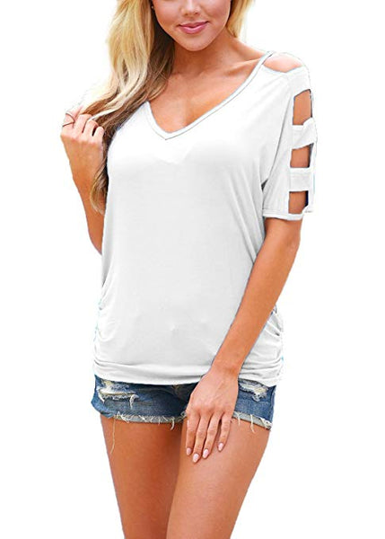 Neck T Shirts Loose Cut Out Shoulder Tops
