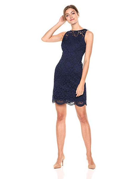 Women's Sleeveless Crew Neck Lace Sheath Dress