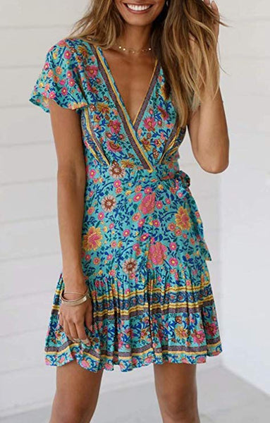 Print Ruffle Swing A Line Beach Mini Dress