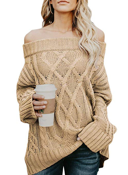 Womens Loose Long Sleeve Fleece Knitted Off The Shoulder Oversized Sweaters