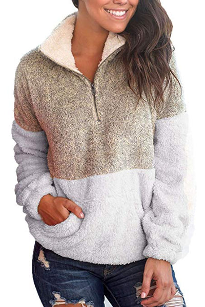 Women Warm Pullover Contrast Color Plush Pocket Classic Sweaters