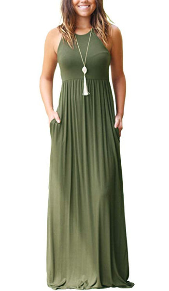Racerback Loose Plain Maxi Dresses Casual Long Dresses with Pockets