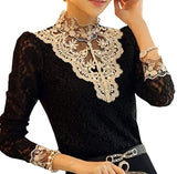 Women's Floral Lace Blouse Overlay Turtleneck Sheer Long Sleeve Party Tops