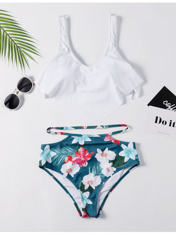 White Leaf Print Off The Shoulder Bikini Set