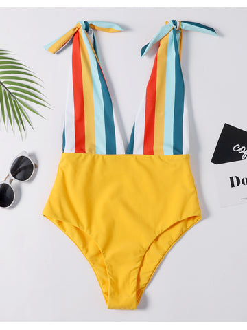 Colorful Striped Cutout Tied Swimsuit
