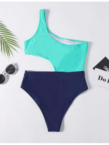 One Shoulder Cutout Colorblock Swimsuit
