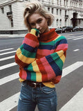 Modern Striped Knitting Sweater Tops