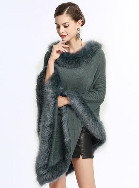 FOX LIKE FUR COLLAR ROUND PULLOVER SWEATER CAPE SHAWL