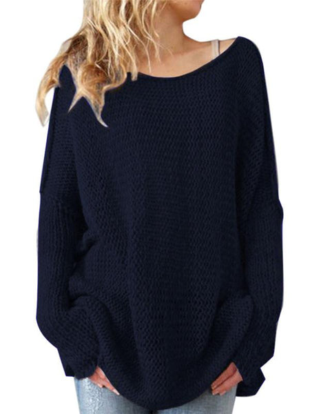Romance Solid Color Knitting Sweater Tops