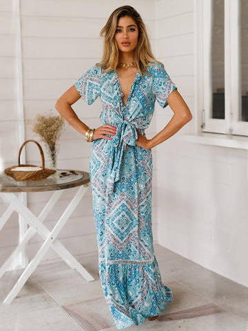 Bow- Bohemia Maxi Hollow Printed Dress