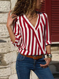 V-neck Loose Blouses&shirts Tops
