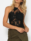 Lace Halter Straps with Zipper Small T-Shirt Tops