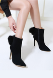 Fashion Ankle Boots Flock Faux Fur High Heels Wedding Shoes