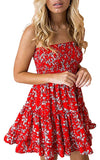 Sexy Strapless Floral Print Pleated Flounced Ruffled Dress