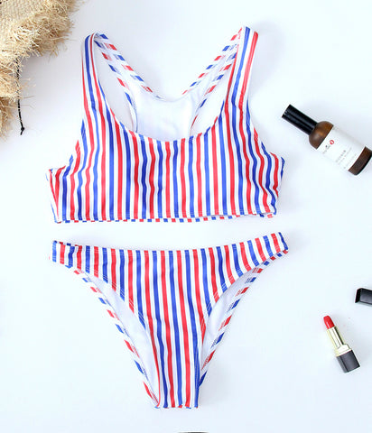 Striped Cute Padded Bikini Set