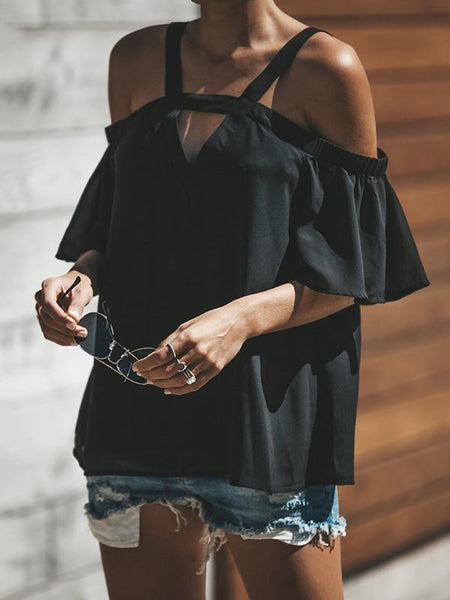 Romance Sleeves Off Shoulder Blouses&shirt Tops