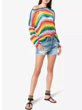 Rainbow  Knitting Loose Sweater
