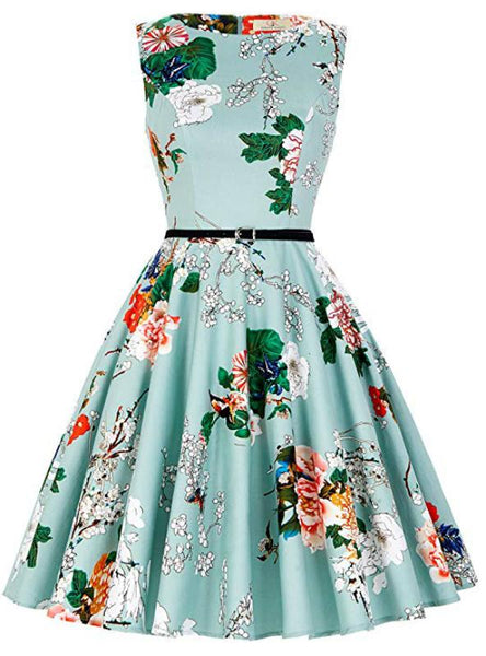 WOMEN GREEN DRESS PRINT VINTAGE 1950S DRESS