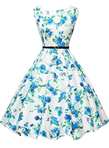 WHITE DRESS BLUE PRINT VINTAGE DRESS WITH SASH