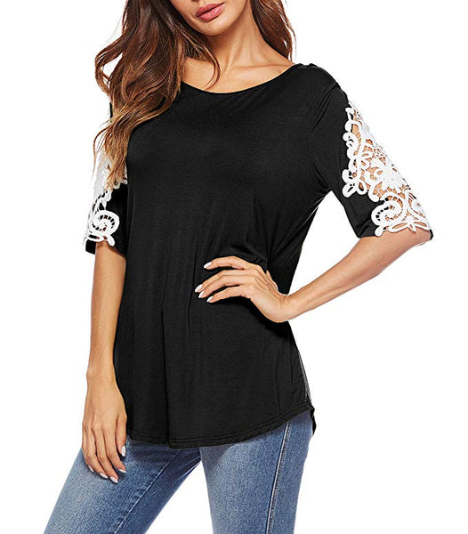 Womens Shirts Casual Tee Round Neck Short Sleeve Lace Loose Fits Tunic Tops Blouses