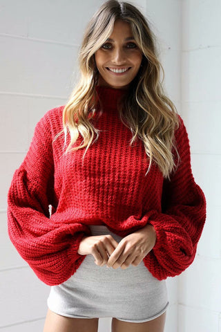 Dropped Shoulder Mock Neck Sweater