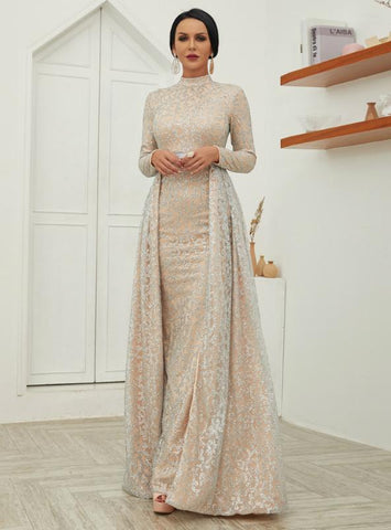HIGH COLLAR LONG SLEEVE EVENING DRESS SPARKLING SKIRT