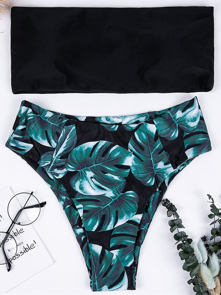 Swimwear Women Swimsuit High Waist Black Leaves Print Bandage Bikini