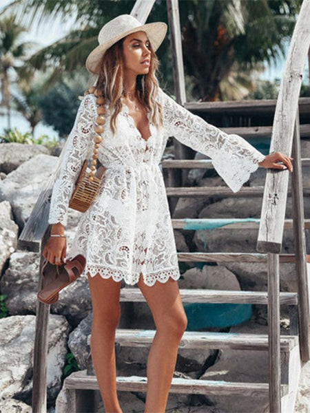 Bikini Cover Up Floral Lace Summer Women Hollow Crochet Swimsuit Cover-Ups