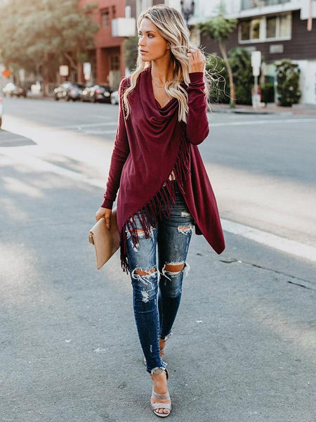 Sweet Color Tassels Cardigan Tops