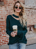 Long Sleeves Green Sweater Tops