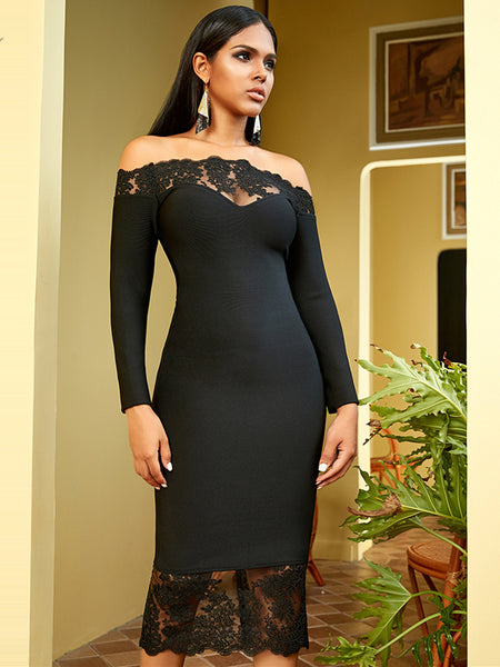 Black Bandage Slash Neck Off Shoulder Celebrity Party Dress