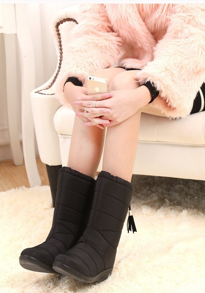 Gorgeous Winter Women Boots Female Waterproof Tassel Ankle Boots Down Snow Boots Ladies Shoes